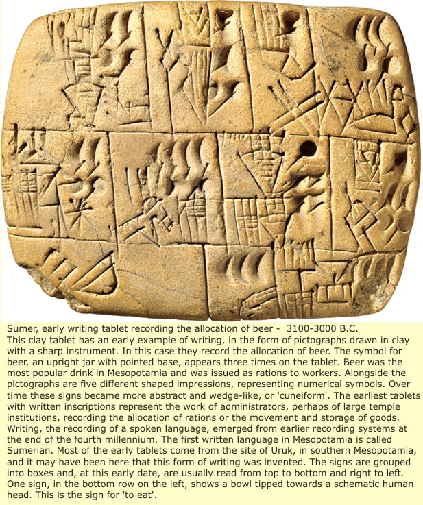 Sumerian wedge shaped writing